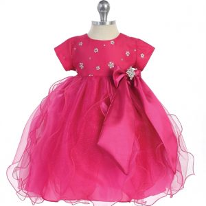 Infant's Satin Embellished Bodice and Bow Pageant Dress