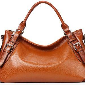 Genuine Leather Double Handle Hobo Bag