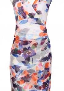 London Times Surplice Neckline Multi Leaf Dress