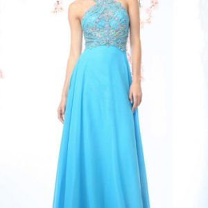 Baby Blue Beaded Halter Ball Gown